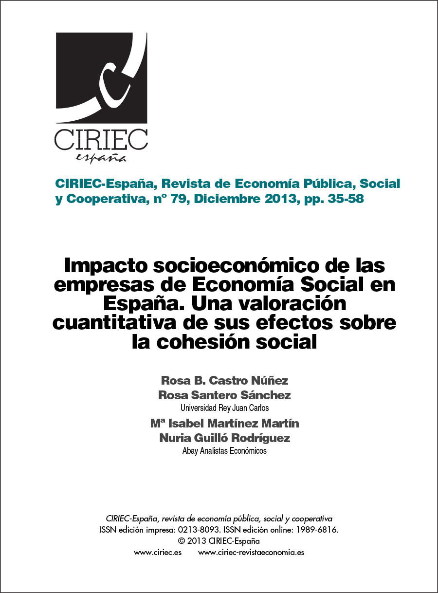 Impacto socioeconómico de las empresas de la Economía Social en España. Una valoración cuantitativa de sus efectos sobre la cohesión social