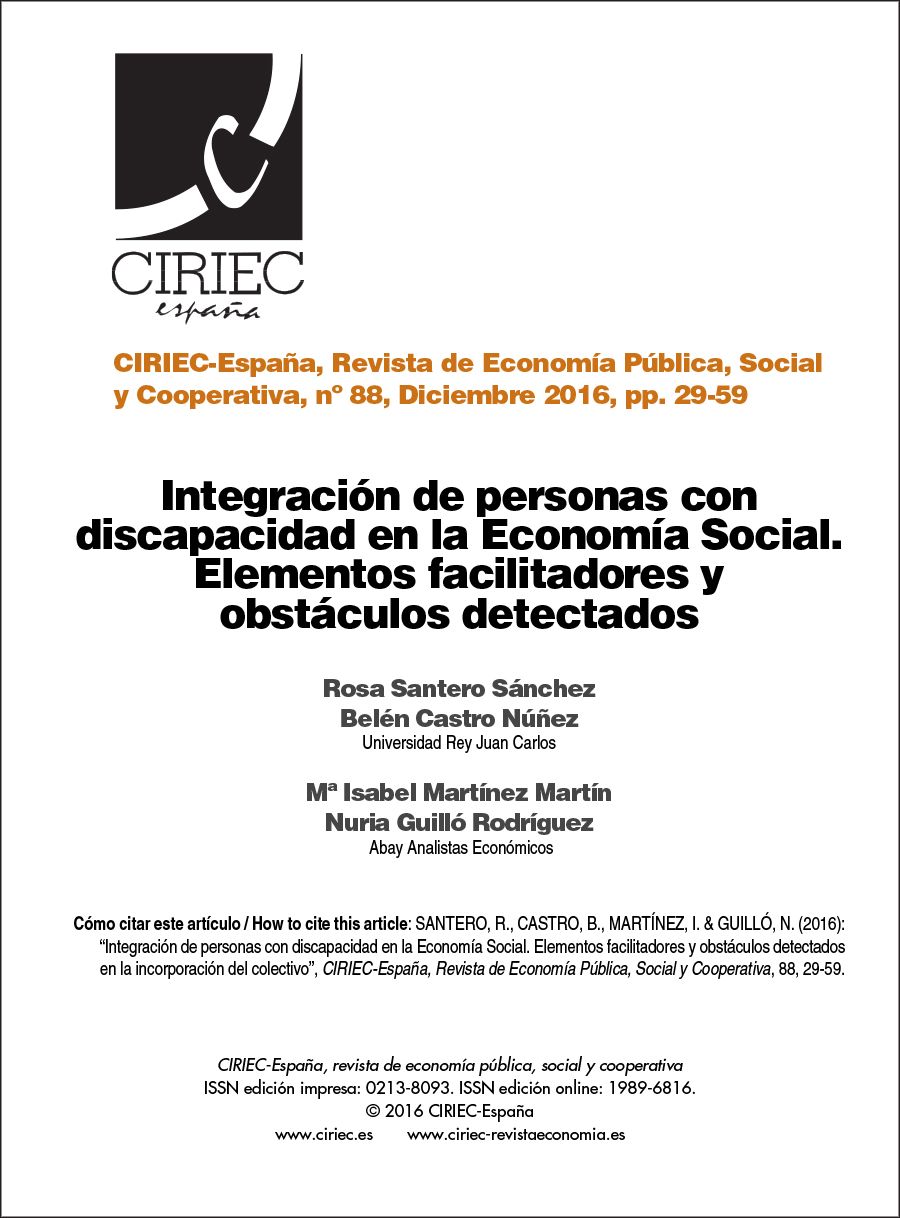 Integración de personas con discapacidad en la Economía Social. Elementos facilitadores y obstáculos detectados